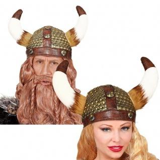 WIKINGER LATEX HELM mit Fell Barbar Vikinger Hut Lederoptik Kostüm Party #9169