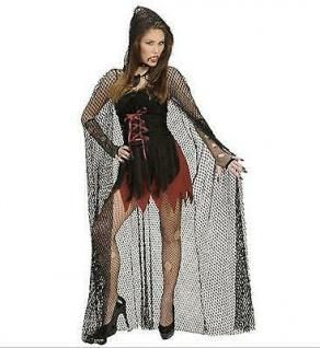 Langes schwarzes Netzcape Cape Umhang Frauen Halloween Kostüm Netz Hexe Vampir