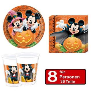 36 tlg. Halloween Party Set MICKEY MAUS-Teller Becher Servietten für 8 Personen