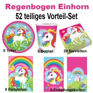 52 tlg. Vorteil-Set Regenbogen Einhorn Unicorn Kinder Geburtstag Party Deko