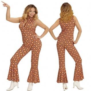 70er Chic Disco Queen OVERALL Damen Kostüm Hippie Girl Jumpsuit Schlagermove