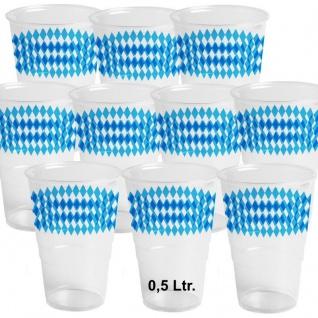 10 Bierbecher 0, 5 Ltr.Trinkbecher Einweg Kunststoff Bayern blau weiß Oktoberfest