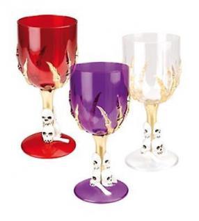 Halloween Weinglas Skull Totenkopf rot weiß lila Horror Party Karneval