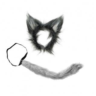 WOLF SET aus Plüsch Wolfschwanz + Wolfsohren Karneval Kostüm Zubehör Haarreif