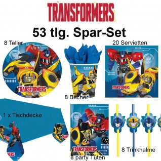 53tlg. Spar-Set TRANSFORMERS Kinder Geburtstag Party Deko Pferd Teller Becher