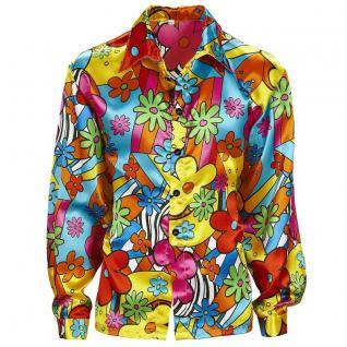 60er 70er Party Flower Power Hippie Herren Hemd Gr. S 46 Blümchenhemd Kostüm