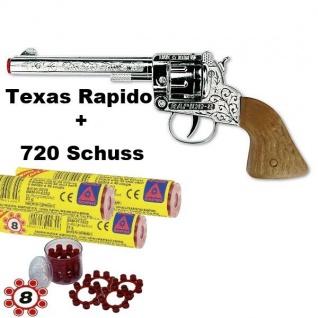 TEXAS RAPIDO Knall-Pistole mit 720 Schuß Munition Kinder Spielzeug Revolver