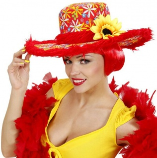 Sonnenblume Hippie Damen Hut mit Plüschrand 70er Flower Power rot-gelb #599d