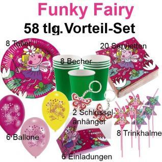 58 tlg.Vorteil-Set FUNKY FAIRY FEE Kinder Geburtstag Party Teller Becher Feen
