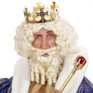 Majestät König Perücke mit Bart weiß für Herren - Karneval Fasching Kostüm