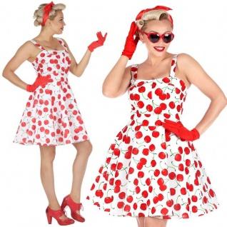 50er Jahre Rockabilly Kleid mit Petticoat 42/44 (L) Damen Kostüm Kirschen #4832