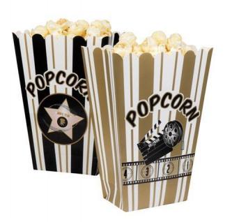"4er Pack Popcorn-Tüten Popcorn-Schalen "" Hollywood"" Party Deko"