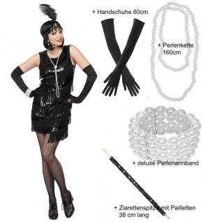 Charleston Damen Kostüm schwarz Kleid mit Stirnband Handschuhe Perlen Schmuck Zi