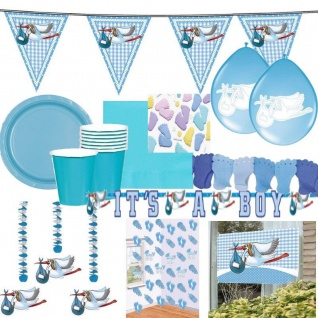 GEBURT TAUFE JUNGE Baby Party Baby Deko blau hellblau It´s a boy Girlande