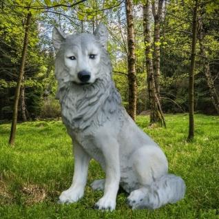 WOLF ISEGRIM HUND Wild Tier Garten Dekofigur lebensecht Tierfigur Skulptur #3793