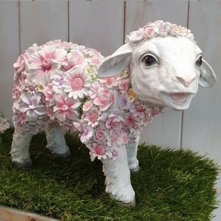Gartenfigur Lamm stehend mit Blumen Schaf Haus Garten Deko Figur #12110