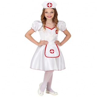 Kinder Kostüm KRANKENSCHWESTER - Kleid mit Haube - Mädchen Fasching Karneval