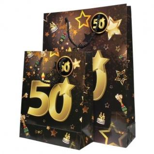"""2 St. Geburtstag Geschenk Taschen Set """" 50"""" Schwarz Gold Tüte Jubiläum Verpackun"""