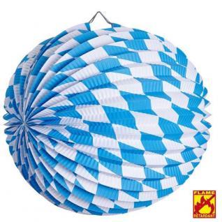 12 LAMPION BAYERN RAUTE Ø 23 cm blau weiss Laternen Oktoberfest flammhemmend