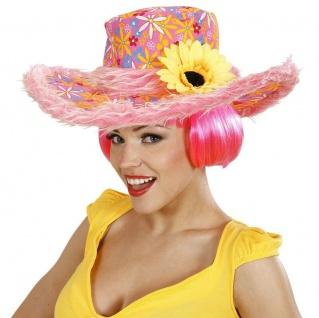 Sonnenblume Hippie Damen Hut mit Plüschrand 70er Flower Power pink-gelb #598e