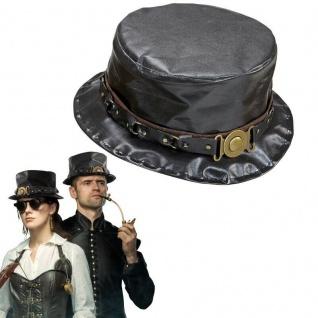 STEAMPUNK ZYLINDER schwarz Rocker Gothic Fantasy Retrolook Kostüm Party #75716