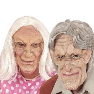 OPA oder OMA MASKE mit Perücke - Greis Alter Mann Alte Frau Halloween Karneval