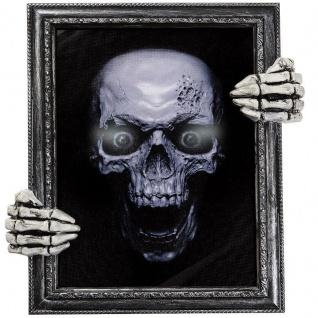 sprechendes TOTENKOPF GEMÄLDE Bild mit Skelett Händen Tonsensor Halloween Deko