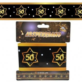 15 m Absperrband 50. Geburtstag Jubiläum schwarz gold Party Deko #3138