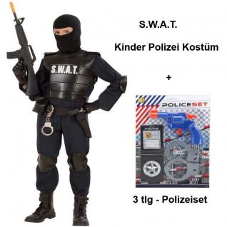SWAT Officer mit 3-tlg Polizei Set Kinder Kostüm S.W.A.T. Agent Gr. 116 bis 164
