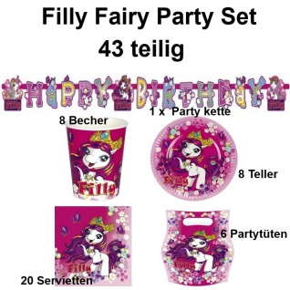 FILLY FAIRY 43 teiliges Party Set Kinder Geburtstag - Teller Becher Servietten