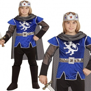 KÖNIG ARTHUR Mittelalter Jungen Kostüm Kinder - in blau silberner Löwe - Ritter