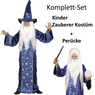 Kinder Kostüm ZAUBERER + PERÜCKE Gr. 140 Durin - Junge Karneval Fasching
