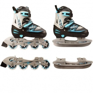 Kinder Inliner und Schlittschuhe 2 in 1 Größe verstellbar 35-38 Skater (blau)