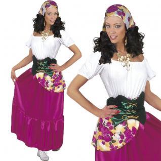 Zigeunerin Gipsy Damen Kostüm Wahrsagerin Kartenlegerin Kleid Karneval Fasching