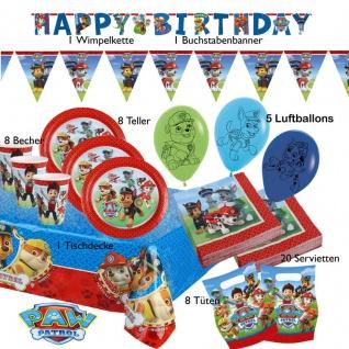 52 tlg. Party Set 1 PAW PATROL Kinder Geburtstag Hunde-Polizei Party Deko