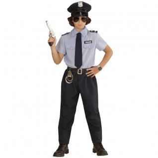 Kinder Kostüm Polizist Gr. 140 Polizei Jungen Hemd, Hose, Gürtel, Krawatte, Hut 0402