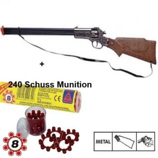RAPID FIRE Western Metall Gewehr + 240 Schuss Munition Kinder Spielzeug Cowboy