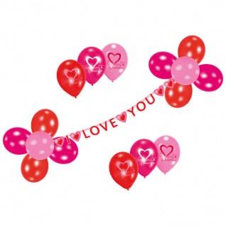 27 tlg. Luftballon-Deko-Set - I LOVE YOU - Herz Liebe + Hochzeit Valentin #284