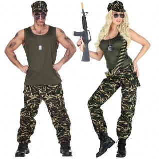 Soldat Soldatin Partner Kostüm für Damen und Herren Camouflage Armee Outfit Army