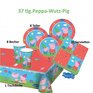 Peppa Wutz Set 1 Kindergeburtstag Teller Becher Servietten Tischdecke Party