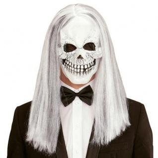 TOTENKOPF Maske mit Haare Halloween Horror Skull Sensenmann Tod Kostüm #1017