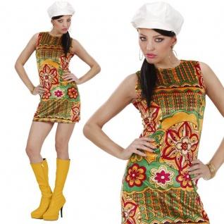 60er 70er Damen Kostüm -Kleid mit Hut- sexy Hippie Flower Power Retro Minikleid