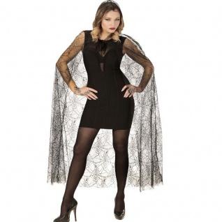 SPINNENNETZ CAPE Umhang mit Kapuze Damen Kostüm - 140 cm Halloween Karneval