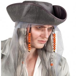 graue ZOMBIE PIRAT PERÜCKE mit Dreispitz Hut Halloween Karneval Kostüm Zubehör