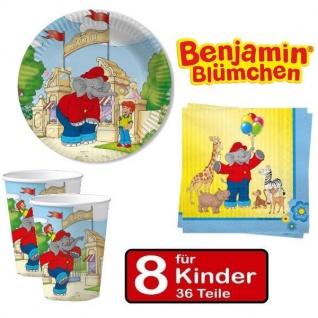 BENJAMIN BLÜMCHEN Party Set - Teller Becher Servietten -für 8 Kinder Geburtstag