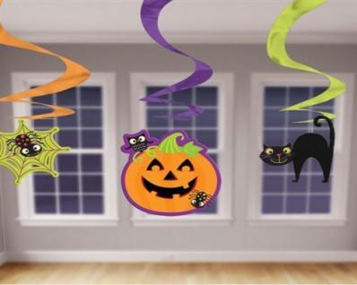 3 DEKOSPIRALEN Spinne Katze Kürbis 50 cm Halloween Raum deko Girlande 7415