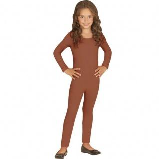 Einteiler Kinder Body Overall Jumpsuit lang Sport braun Langarm Kostüm 116-152