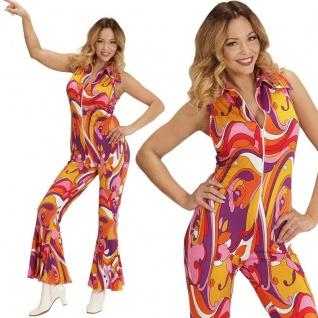 70er Disco Girl Overall mit Schlag 42/44 -L- Damen Kostüm Hippie Jumpsuit #8943