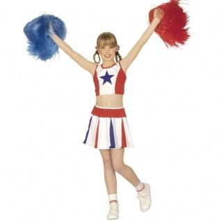 Cheerleader Kinder Kostüm Mädchen - Karneval Fasching Verkleidung 128, 140, 158