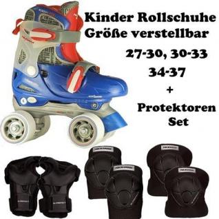 KINDER ROLLSCHUHE + SCHÜTZER SET Junior Skates blau 27-30, 30-33, 34-37